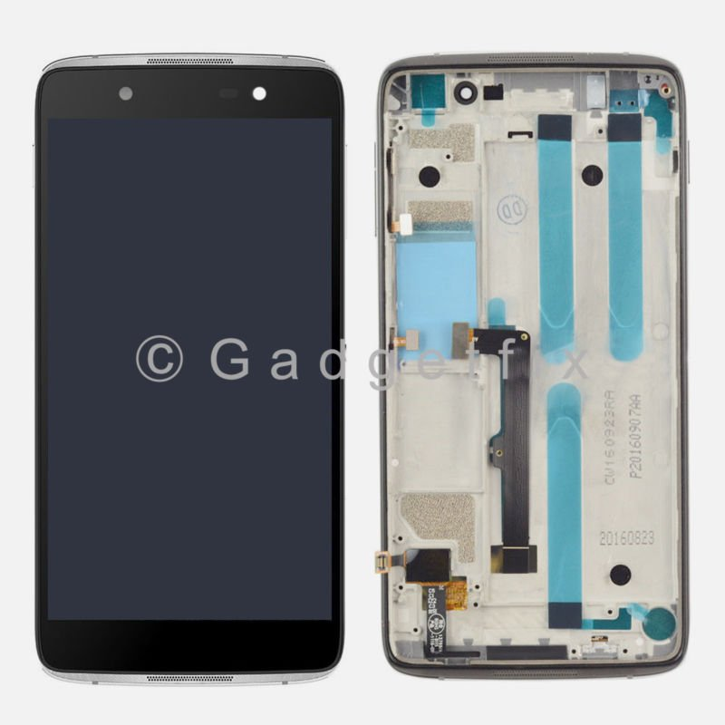 Silver Alcatel One Touch Idol 4 6055Y 6055K 6055B 6055U 6055P LCD Touch Digitizer Assembly + Frame