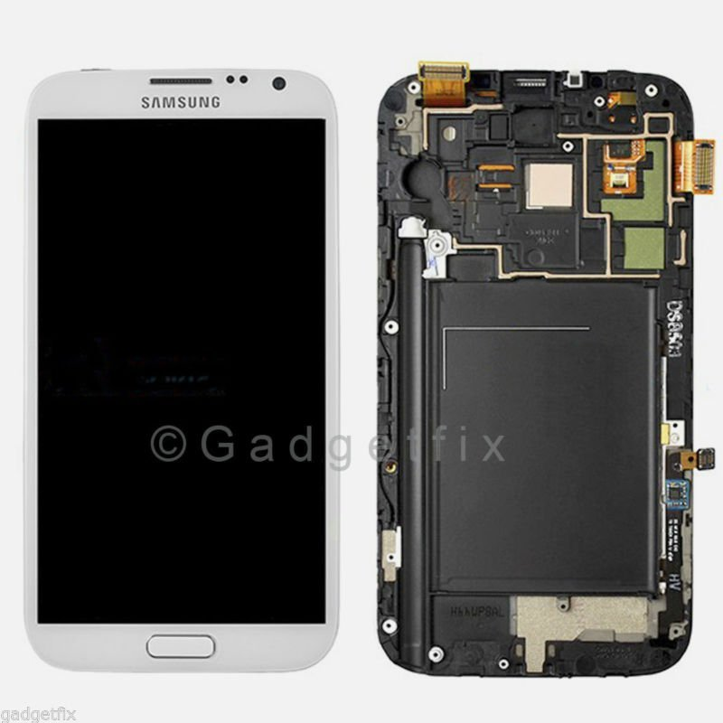 US New Samsung Galaxy Note 2 L900 i605 LCD Screen Touch Digitizer + Frame White