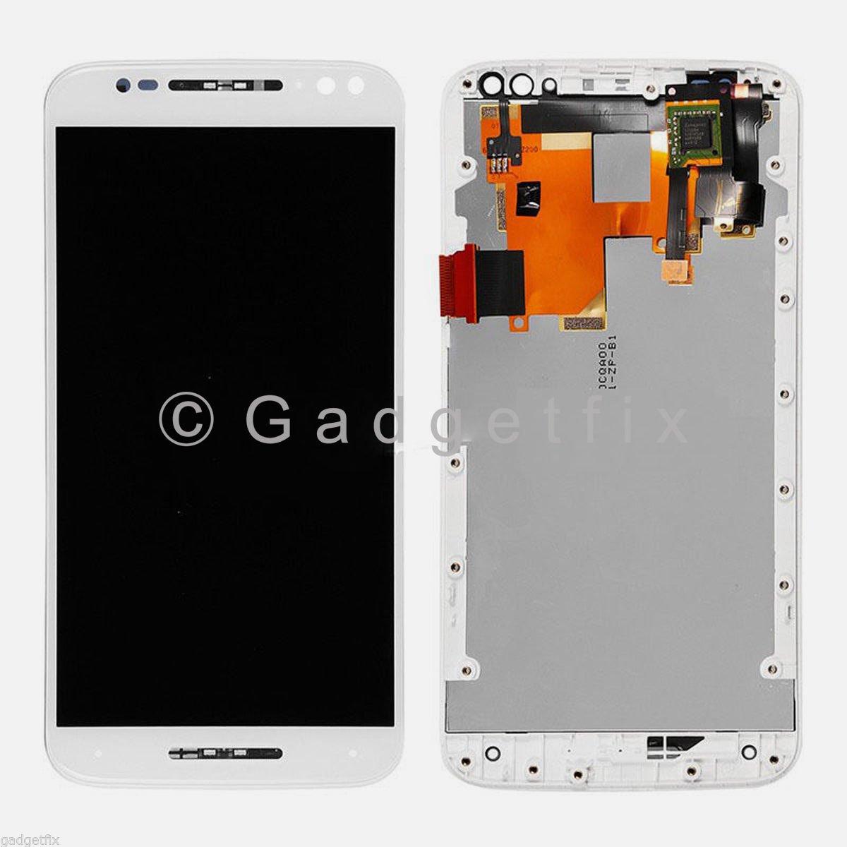 White Motorola Moto X Style 2015 XT1570 XT1572 LCD Touch Screen Digitizer Frame