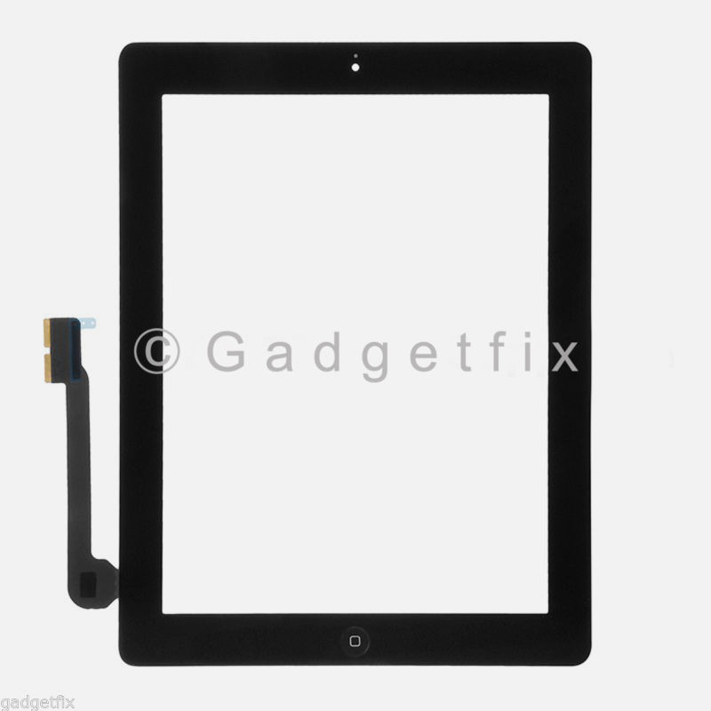 Black Front Panel Touch Screen Glass Digitizer + Home Button Assembly for iPad 3