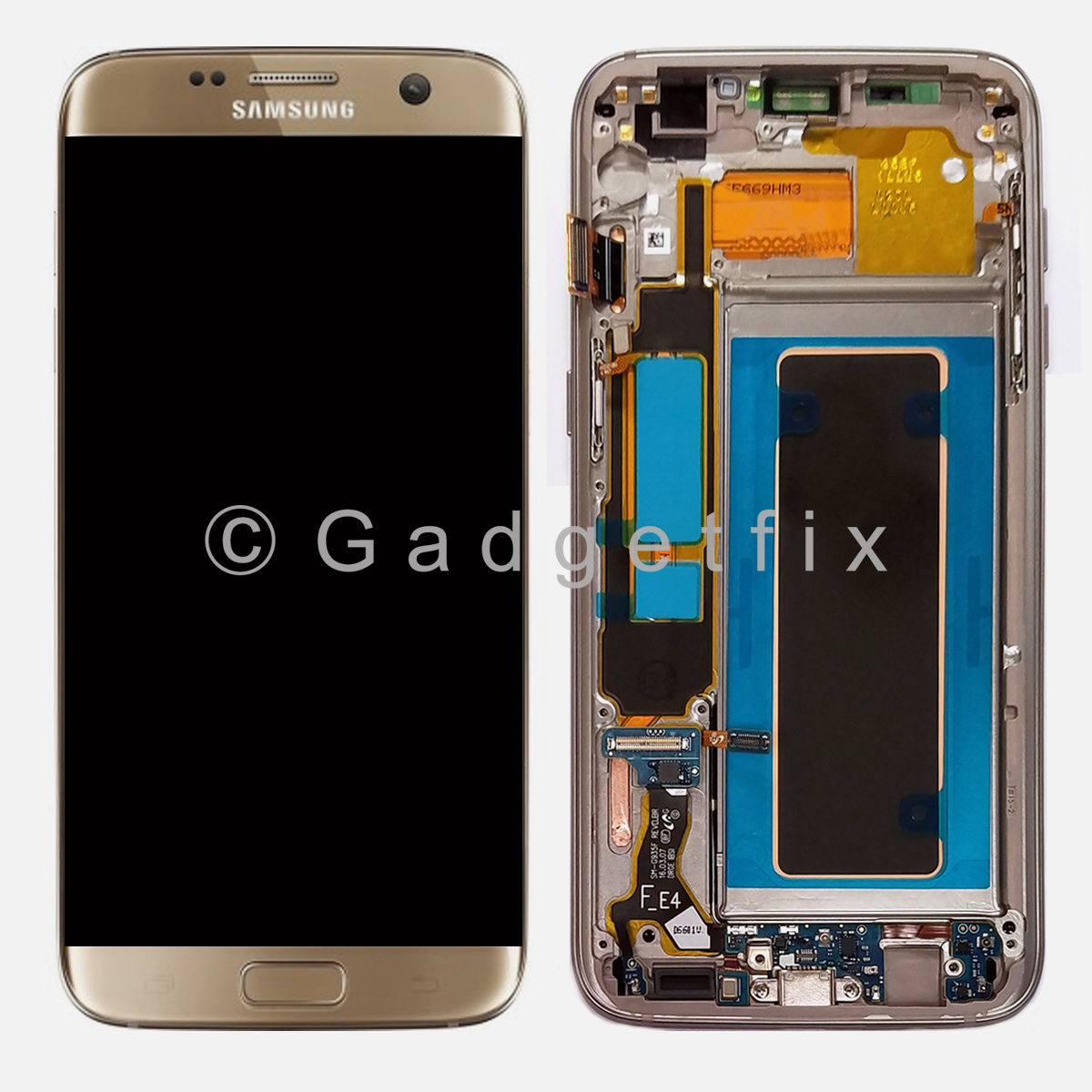 Gold Samsung Galaxy S7 Edge G935A G935T G935V G935P LCD Display Touch Screen Digitizer Frame