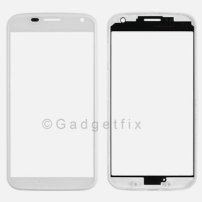 Glass Lens +  Front Bezel Frame Housing White For Motorola Moto X XT1060 XT1058