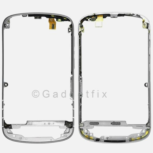 OEM Silver BlackBerry Q10 Front Cover Housing Bezel Frame + Power Volume Flex US