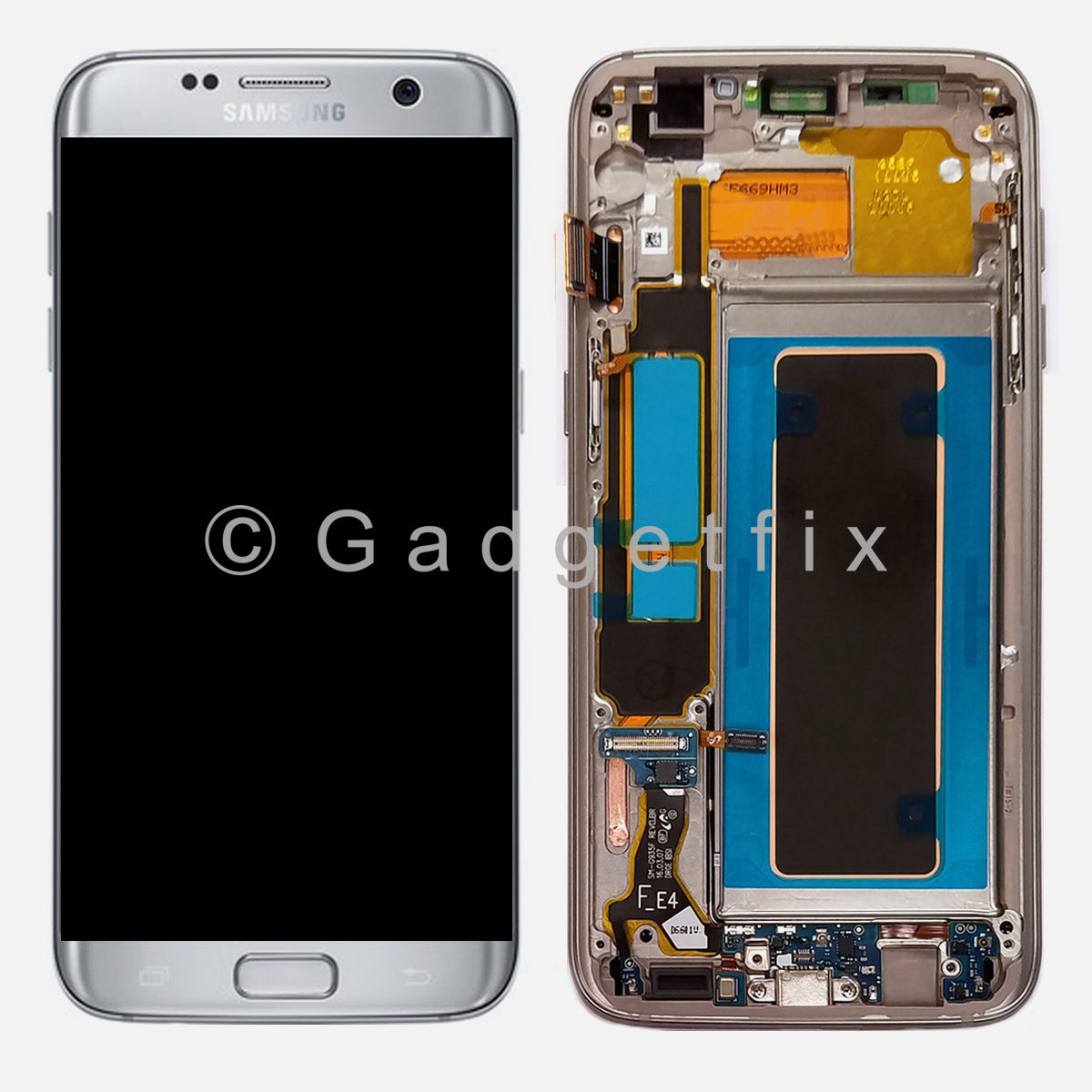 OEM Silver Samsung Galaxy S7 Edge G935F LCD Display Touch Screen Digitizer Frame