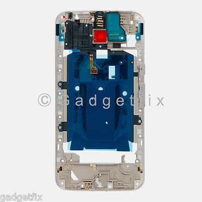 Silver Middle Frame Housing + NFC Power Flex For Motorola Moto X Pure Edition XT1575