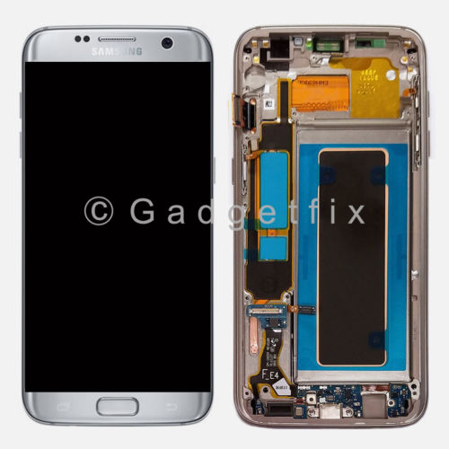 Silver Samsung Galaxy S7 Edge G935A G935T G935V G935P  LCD Touch Screen Digitizer + Frame