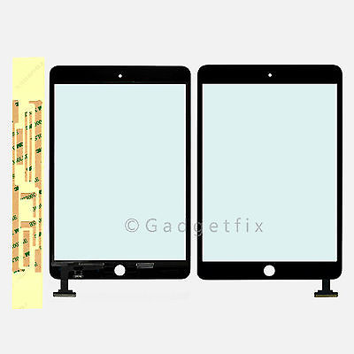 USA Black Ipad Mini Front Panel Touch Screen Glass Lens Digitizer + Adhesive