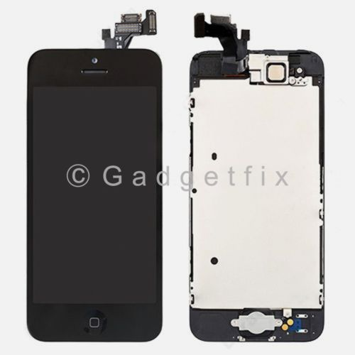 Black Touch Screen Digitizer LCD Display + Button + Camera for iPhone 5