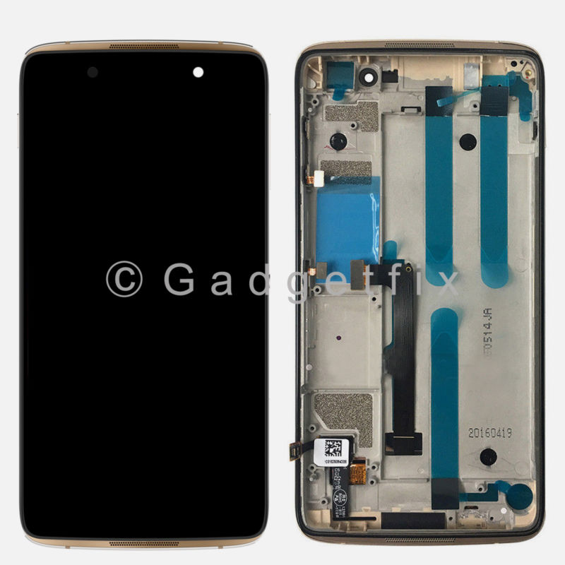 USA Gold Alcatel One Touch Idol 4 6055Y 6055K 6055B 6055U 6055P LCD Touch Digitizer Assembly Frame