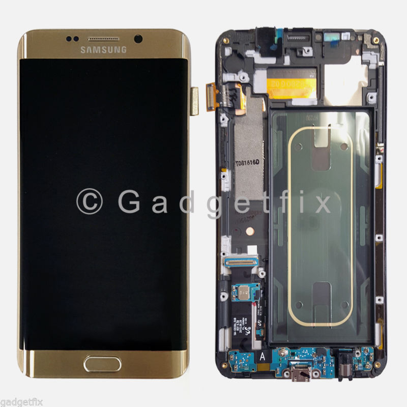 Gold Samsung Galaxy S6 Edge Plus G928A G928T LCD Screen Touch Digitizer + Frame