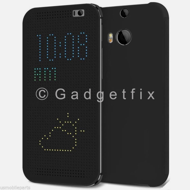 USA New HTC One M8 Black Dot View Matrix Folio Flip Case HC M100 99H11416-00