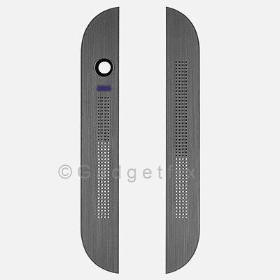 USA New OEM HTC One M8 831C Top & Bottom Front Cover Bezel Housing Gunmetal Gray