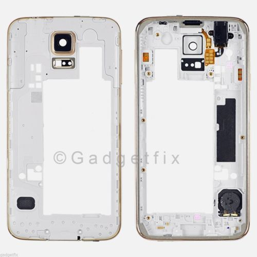 Gold Back Frame Housing with Camera Lens Audio Jack & Speaker for Samsung Galaxy S5