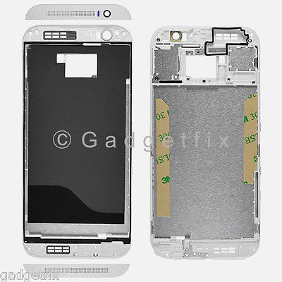 USA Silver HTC One M8 Middle Housing Chassis LCD Touch Screen Holder Frame Bezel