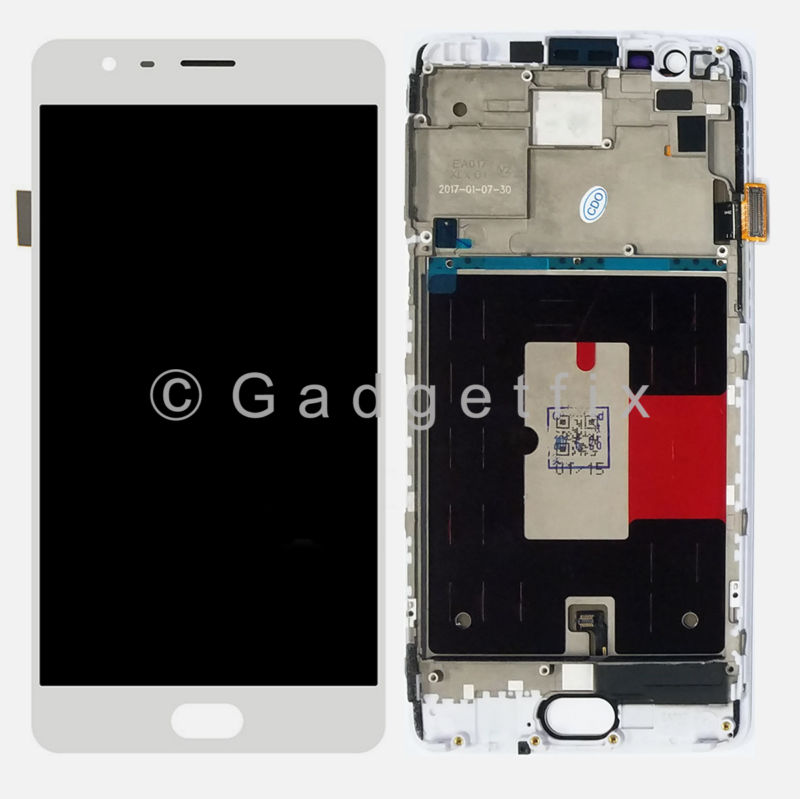 White OLED Display LCD Screen Touch Screen Digitizer + Frame For OnePlus 3T A3010