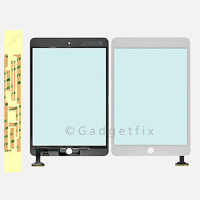 USA White Front Panel Touch Glass Lens Digitizer Screen + Adhesive for Ipad Mini