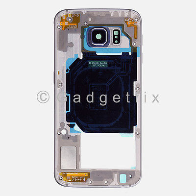 Black Samsung Galaxy S6 G920A G920T Back Housing Frame Bezel + Camera Lens