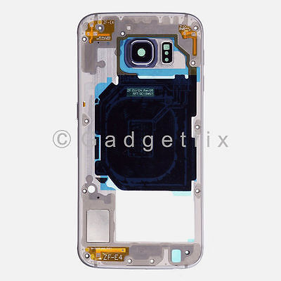 Black Samsung Galaxy S6 G920V G920P Back Housing Frame Bezel + Camera Lens