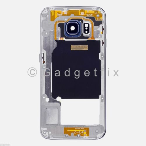 US OEM Black Samsung Galaxy S6 Edge G925P G925V Mid Housing Frame + Camera Lens