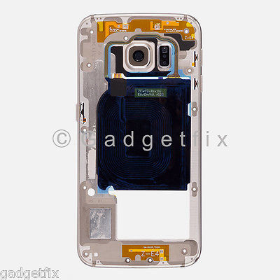 US OEM Gold Samsung Galaxy S6 Edge G925P G925V Mid Housing Frame + Camera Lens