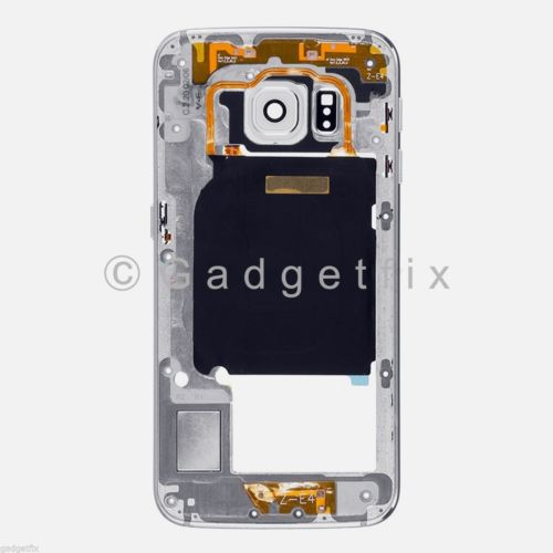 White Samsung Galaxy S6 Edge G925A G925T Mid Housing Frame + Camera Lens
