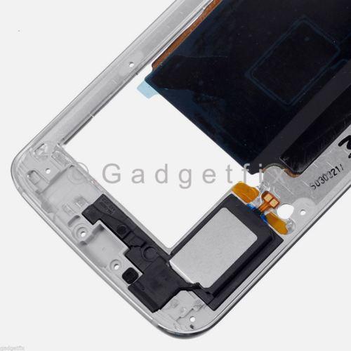 White Samsung Galaxy S6 Edge G925P G925V Mid Housing Frame + Camera Lens
