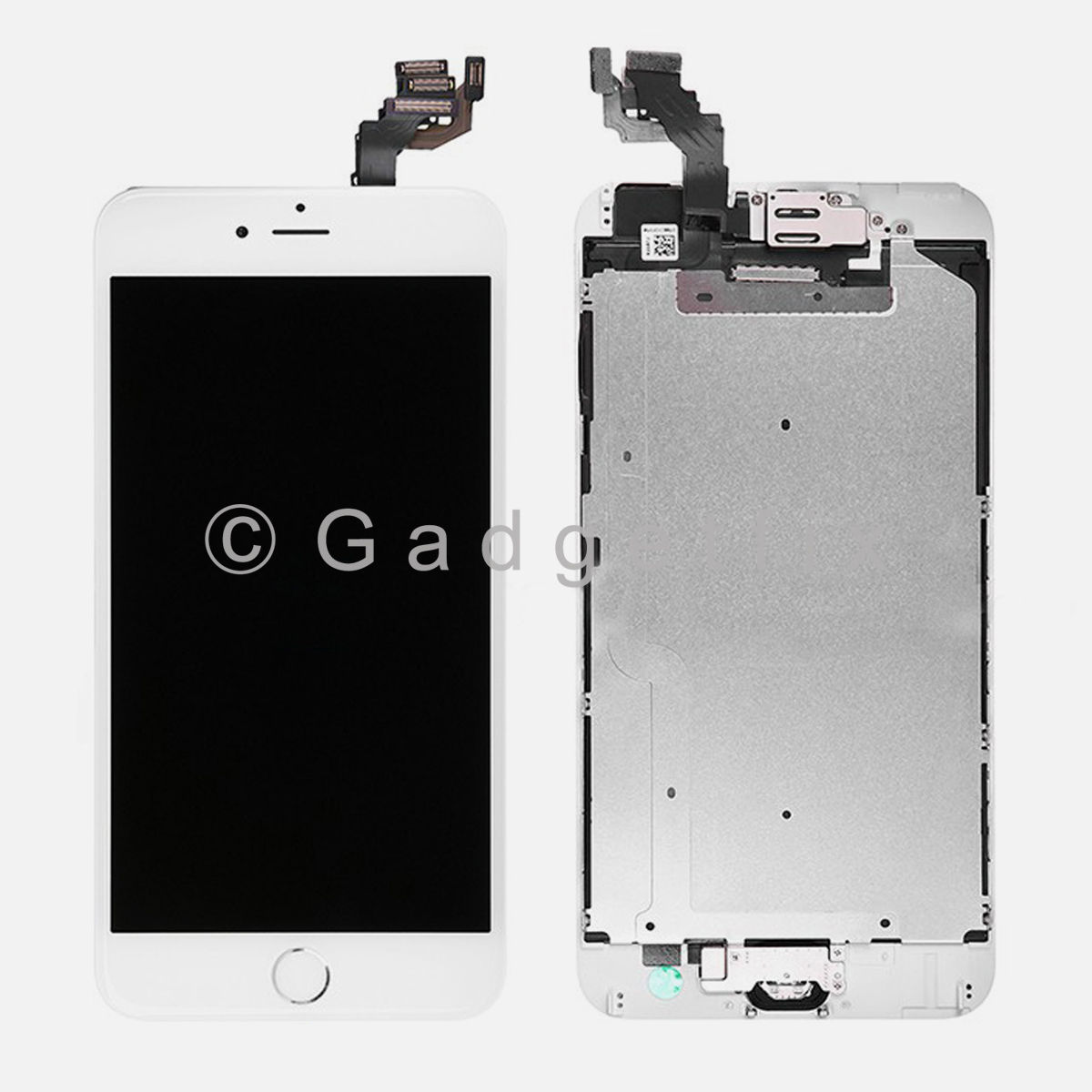 White LCD Touch Screen Digitizer + Camera + Silver Button for iphone 6 Plus