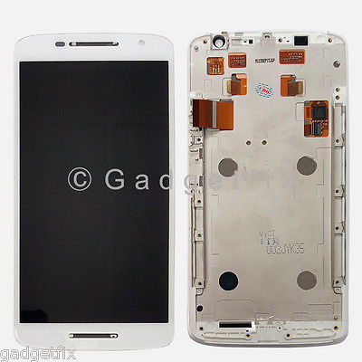 White Motorola Droid Maxx 2 XT1565 LCD Display Digitizer Touch Screen + Frame