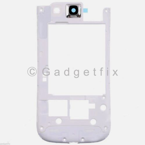 US White Samsung Galaxy S3 i535 R530 Middle Frame Chassis Housing Camera Lens