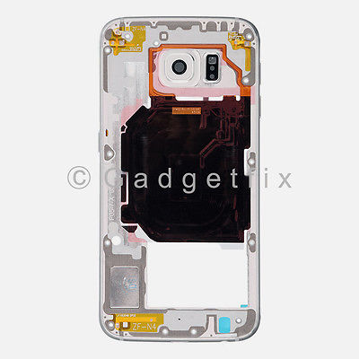 White Samsung Galaxy S6 G920V G920P Back Housing Frame Bezel + Camera Lens