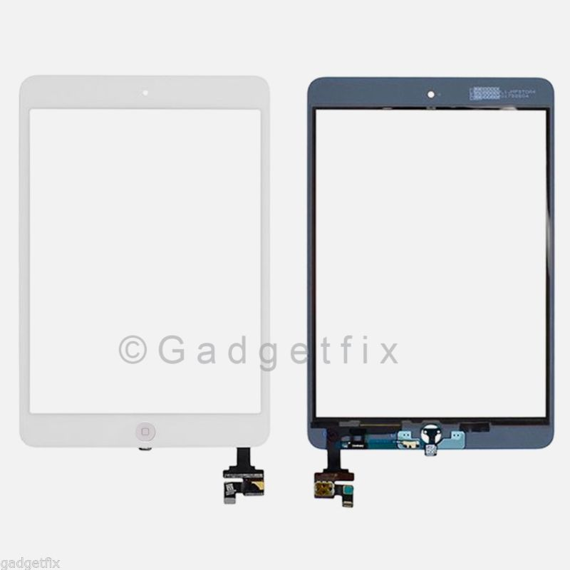US White Touch Digitizer Screen IC Connector Home Button Flex for Ipad Mini 1 2