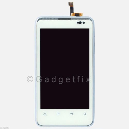 US ZTE Engage V8000 LCD Display Touch Screen Digitizer Glass + Frame Bezel White