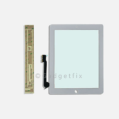 US iPad 3 3rd Gen Generation Touch Screen Lens Glass Digitizer White + Adhesive