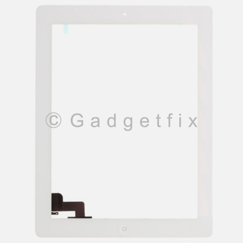 White Front Panel Touch Screen Glass Digitizer + Home Button Assembly for iPad 2