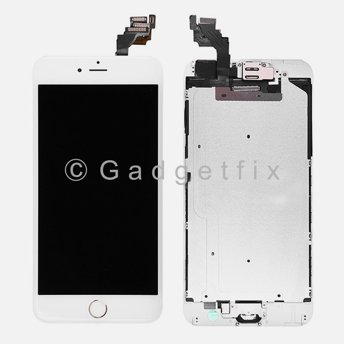 White LCD Touch Screen Display Digitizer + Camera + Gold Button for iPhone 6 Plus