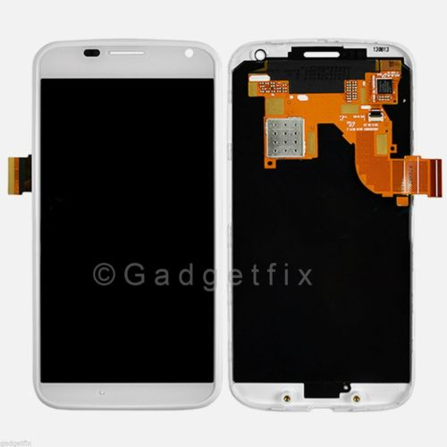 White LCD Touch Screen Digitizer Assembly + Frame For Motorola Moto X XT1053 XT1056