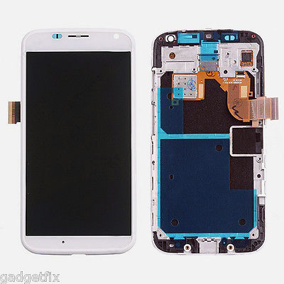 White LCD Display Digitizer Touch Screen +Faceplate Frame For Motorola Moto X XT1055