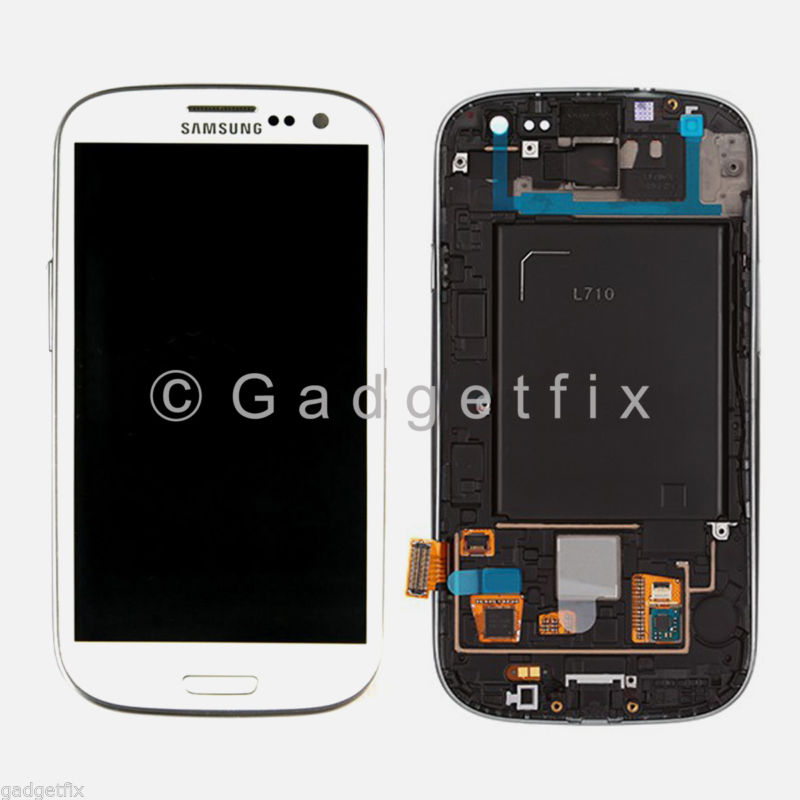 White Samsung Galaxy S3 L710 LCD Screen Display + Touch Screen Digitizer Frame