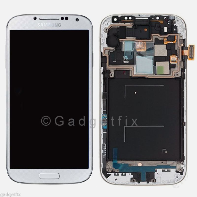 White Samsung Galaxy S4 i545 L720 R970 LCD Touch Digitizer Screen +Frame Assemby