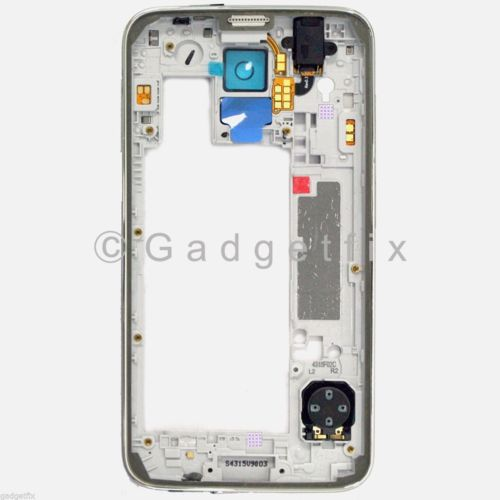 White Back Middle Frame Camera Lens Speaker For Samsung Galaxy S5