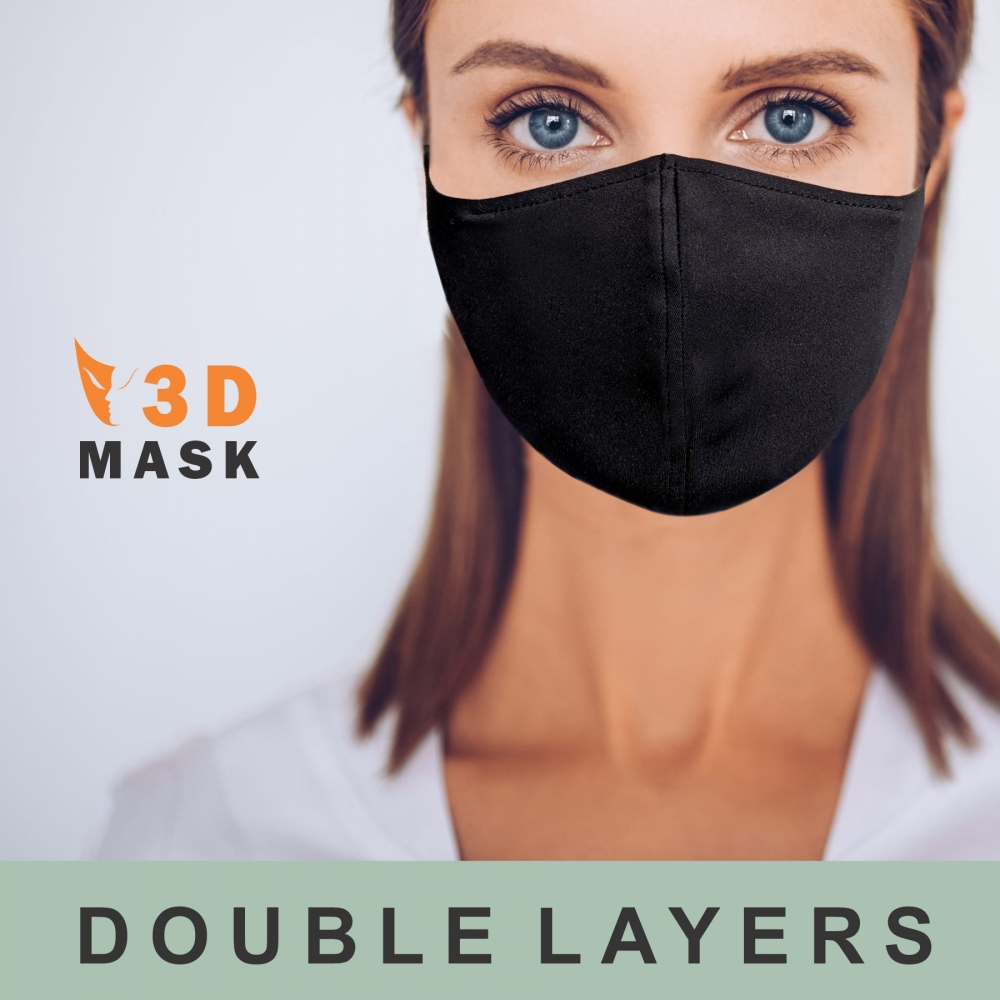 Dual 2 Layers Polyester-Spandex Cloth Face Mask w/ Pocket for Filter | Reusable