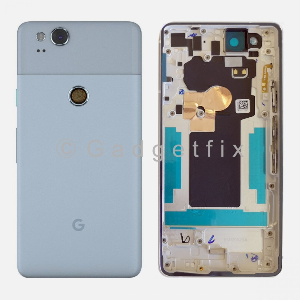 Blue Battery Back Door Cover Housing Camera Lens Frame For Google Pixel 2
