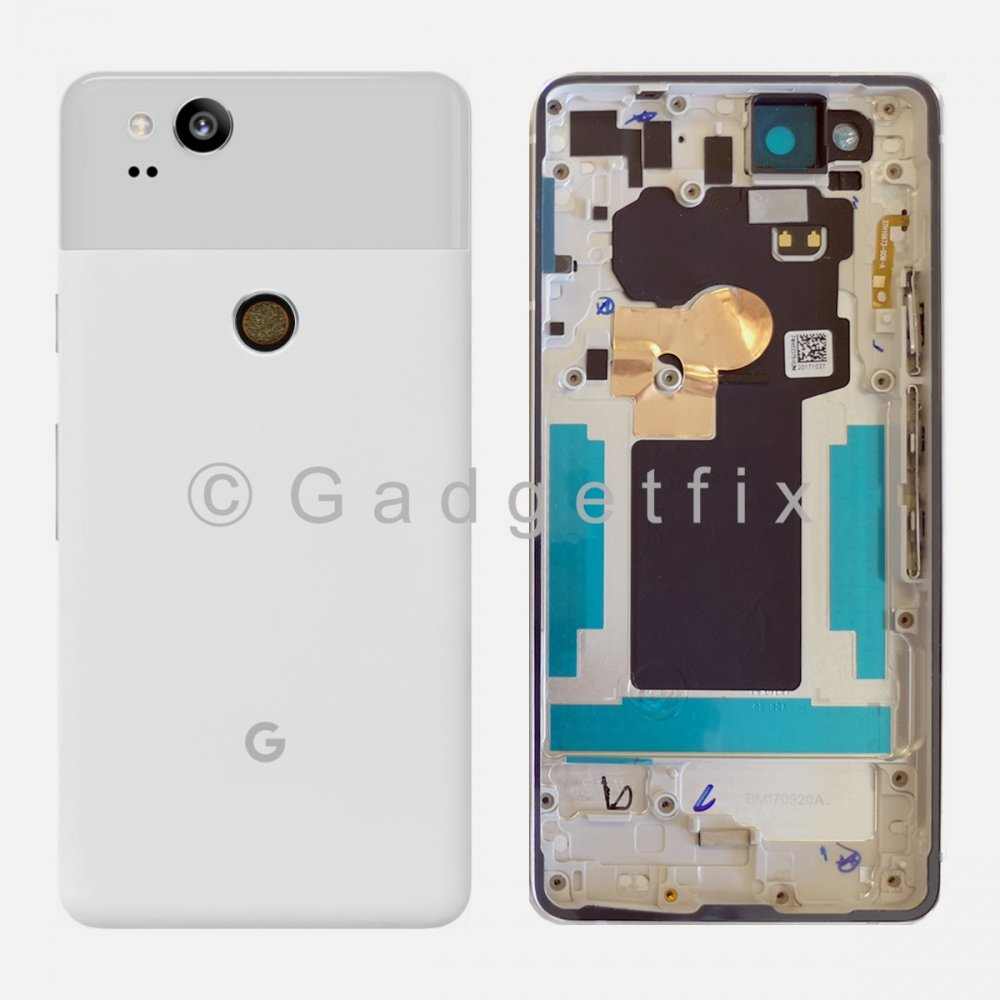 White Battery Back Door Cover Housing Camera Lens Frame For Google Pixel 2