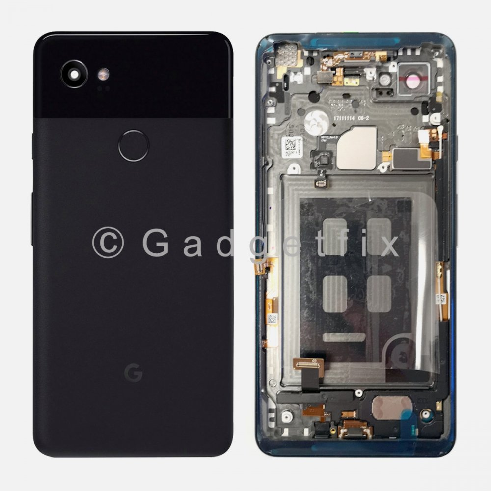 Battery Back Housing Glass Door Cover Buttons + Frame For Google Pixel 2 XL