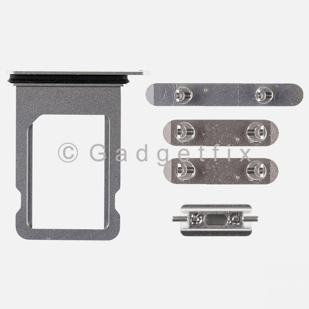 Silver Side Button Sets Power Volume Mute Sim Tray Replacement For Iphone X 10