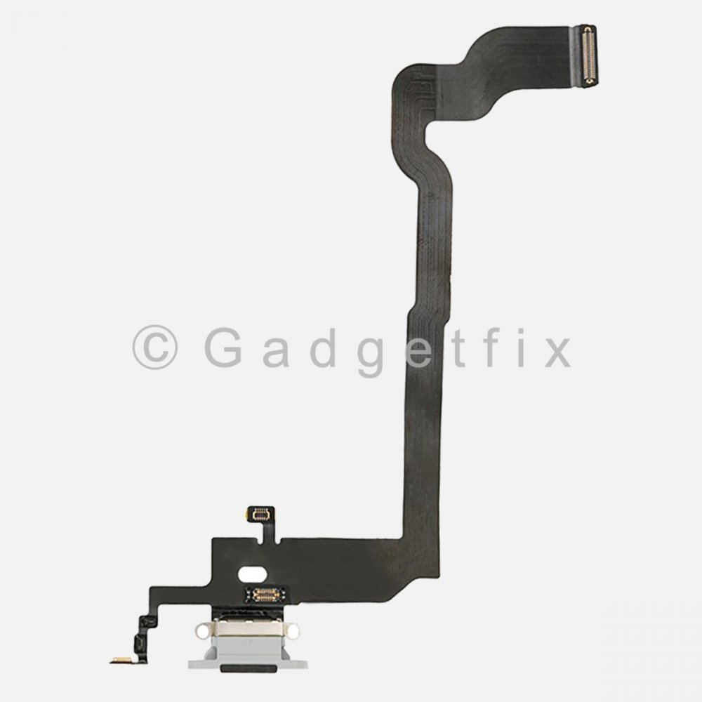 Silver Lightning Charger Charging Port Dock Connector Flex Cable + Mic For Iphone X 10