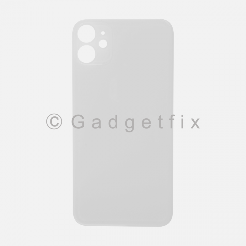 White Rear Back Cover Battery Door Glass For Iphone 11 (Large Camera Hole)