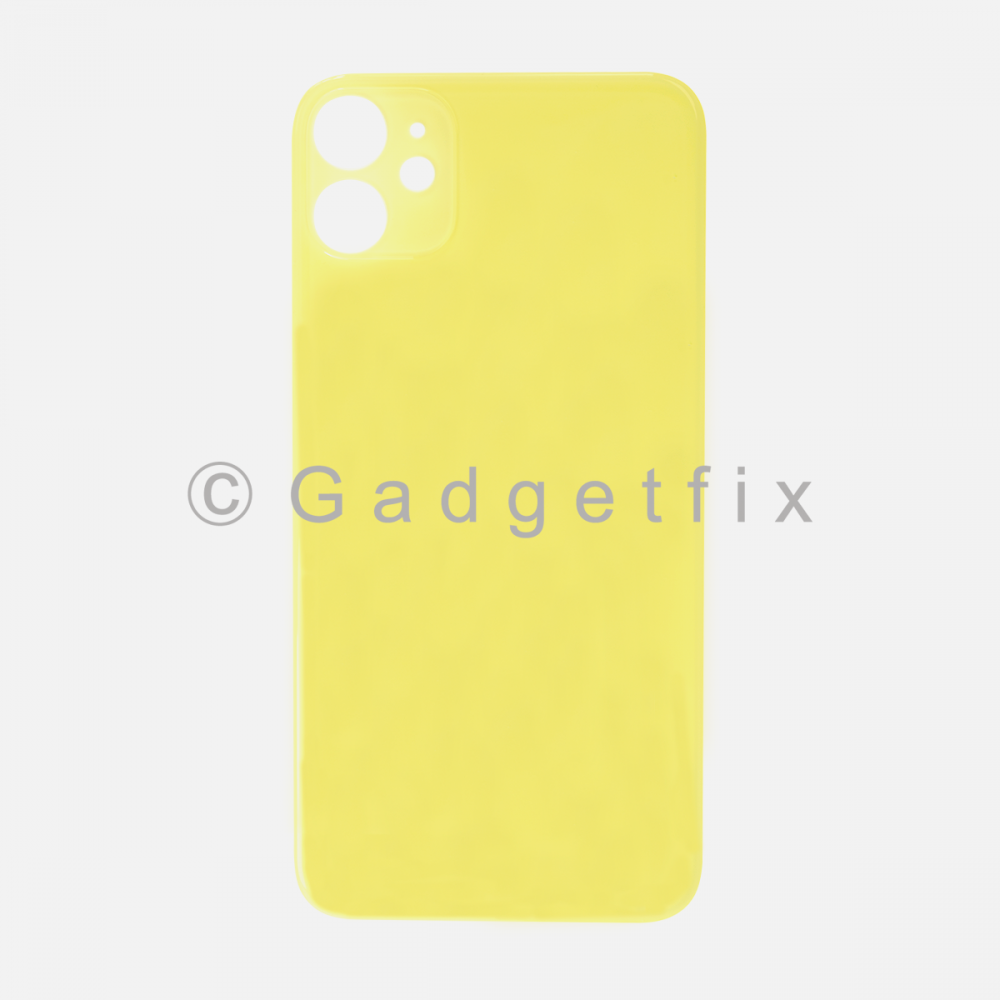 Yellow Rear Back Cover Battery Door Glass For Iphone 11 (Large Camera Hole)