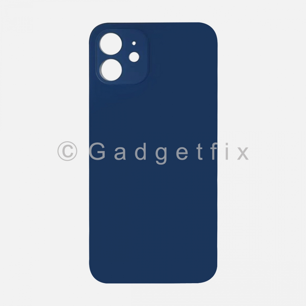 Blue Back Cover Glass for iPhone 12 with Large Camera Hole