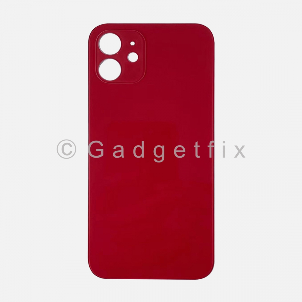 Red Back Cover Glass for iPhone 12 with Large Camera Hole